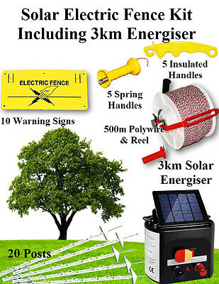 Electric Fence Kit Solar 3km Energiser charger posts polywire gate handles signs