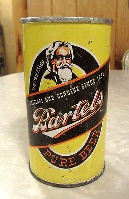 Early 1960's Straight Steel Bartels Pure Beer 12 FL OZ Beer Can Top Open