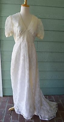 1970's Vintage Lace White Wedding Gown Dress With Train Headdress Veil S Small