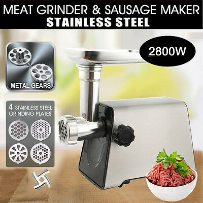 Heavy Duty Electric Meat Mincer Grinder Sausage Maker Machine Stainless Steel