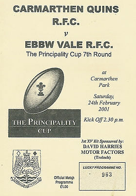 Carmarthen QuinsvEbbw Vale - Welsh Cup - 7th round 24 Feb 2001 RUGBY PROGRAMME
