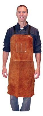 Leather Welding Bib Shop Apron Heat Resistant Blacksmith Mechanic Smock Cowhide