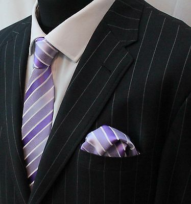 Tie Neck Tie with Handkerchief Mauve & White