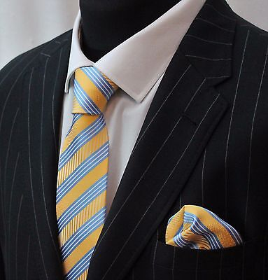 Tie Neck tie with Handkerchief Blue & Yellow