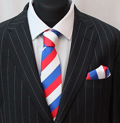 Tie Neck tie with Handkerchief Red White & Blue