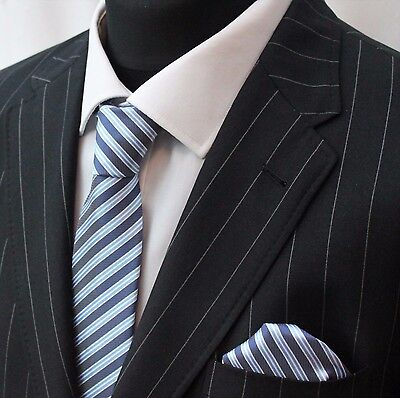 Tie Neck tie with Handkerchief Blue & White