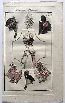 1815 Costumes Parisiens Journal Des Dames French Regency Fashion Plate Hand Col