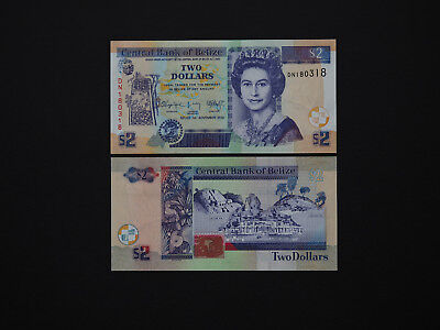 BELIZE BANKNOTES  -  Excellent  QEII  $2  notes with fantastic artwork  MINT UNC