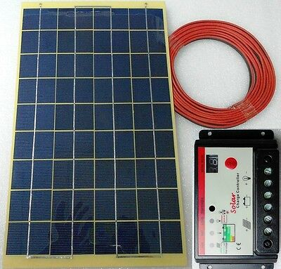10w PV Solar Panel c/w 4m cable + 10A Auto Charger Controller for 12v Battery UK