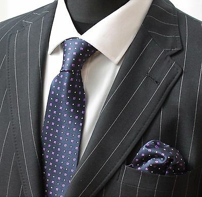 Tie Neck Tie with Handkerchief Navy Blue Purple & White
