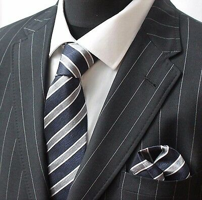 Tie Neck Tie with Handkerchief Navy Blue Silver & White