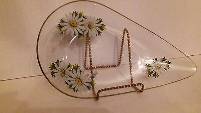 Mid Century Vintage Retro 1960s Clear Glass Dish Gold White Daisies Hand Painted