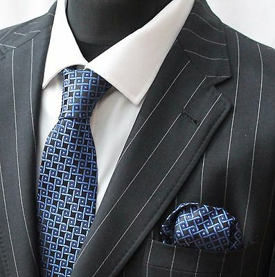 Tie Neck tie with Handkerchief Blue & Black