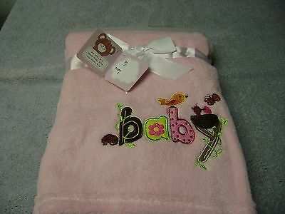 Baby Blanket  With  Birds   Girls Color  Pink  New Nice  Ultra Soft