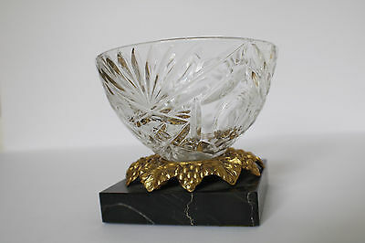 Vintage lead crystal bowl with marble base and grape leaf brass accents