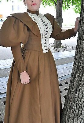 1890S Ladies Day Dress, Recreation, Reenactment, Theatrical Cosplay