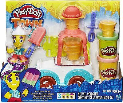 New PLAY-DOH TOWN ICE CREAM TRUCK PLAYSET PLAYDOH/PLAYDOUGH (3) CANS INCLUDED