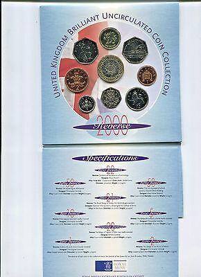 2000 United Kingdom Brilliant UNC Coin Collection 9 coins Original Packaging #2