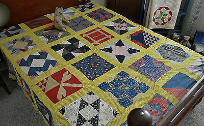 Antique Calico Sampler Quilt Top Dated 1908 *