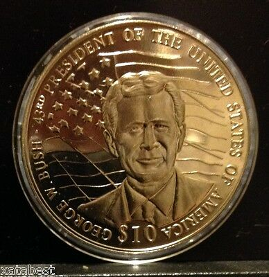"""43rd GEORGE W BUSH"""" COIN 2002 LIBERIA $10 UNCIRCULATED """"PRESIDENTS OF THE USA"""""""