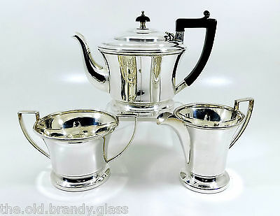 Antique Art Deco Silver Plated 3 Piece Tea Set (Davies & Powers c1935)