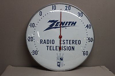 1950's ZENITH RADIO TV STEREO  BUBBLE GLASS THERMOMETER  SIGN GAS OIL SERVICE