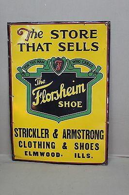 SCARCE 1920's FLORSHEIM SHOE TIN EMBOSSED  METAL SIGN BEER SODA GAS OIL FARM