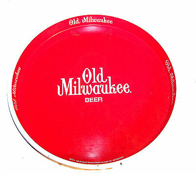 Vintage Old Milwaukee Metal Beer Tray Ex Flat Can Top Cone Sign Soda Ofr
