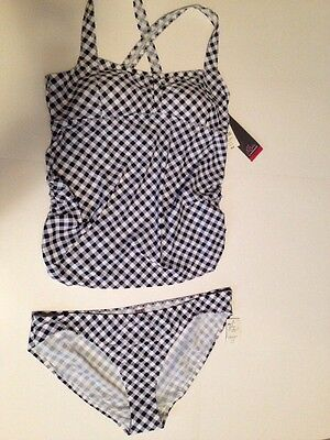 OH BABY MATERNITY TWO PIECE SWIMSUIT TANKINI SIZE XL NWT $60 Navy Check