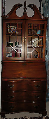Jasper Cabinet Co. Cherry Secretary Desk Serpentine Front Vintage Excellent Cond