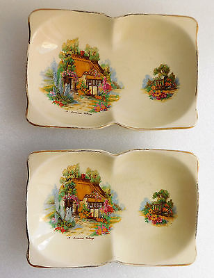 """Two vintage Beswick trays Somerset Cottage pattern shallow double bowls 7.5"""" x5"""""""