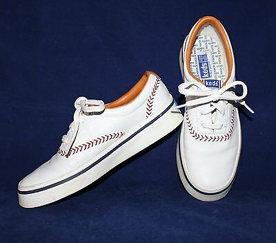 Vintage 1992 Womens KEDS White Leather Baseball Stitch Sneakers Shoes 6 M