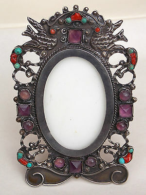 Vintage Mexican Sterling & Stone Easel PICTURE FRAME signed MORALES matl style