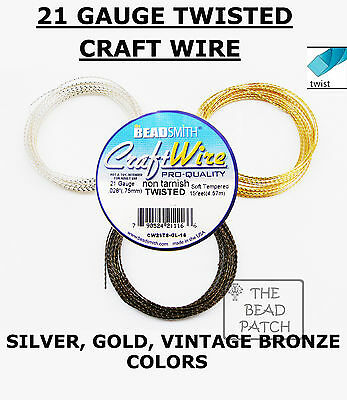 TWISTED  21 Gauge Wire, 21 GA,  3 Colors, BeadSmith Non Tarnish, Crafts-Jewelry