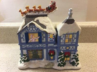 PartyLite The Night Before Christmas Tea Lite House P8651 Animated Music Box