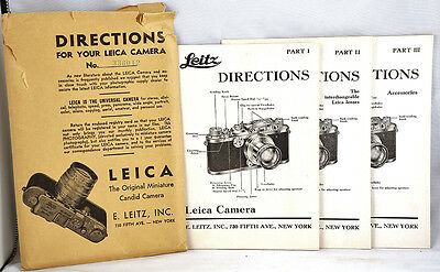 1938 Directions for your LEICA camera in 3 Parts - VINTAGE & RARE MANUALS