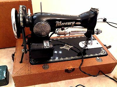 Vintage 1950's Mercury Deluxe Electric Sewing Machine W/ Case and Accessories