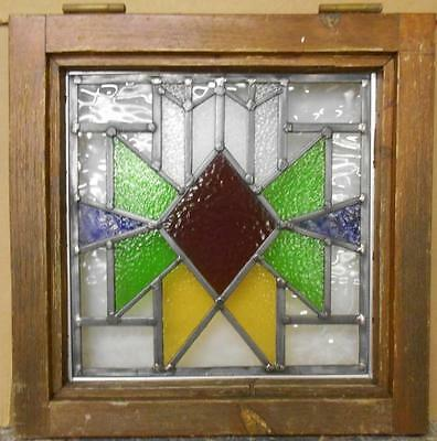 "OLD ENGLISH LEADED STAINED GLASS WINDOW Geometric 17.5"" x 17.5"""