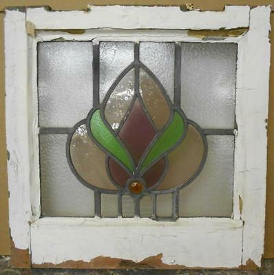 """OLD ENGLISH LEADED STAINED GLASS WINDOW Beautiful Floral 17.5"""" x 17.5"""""""