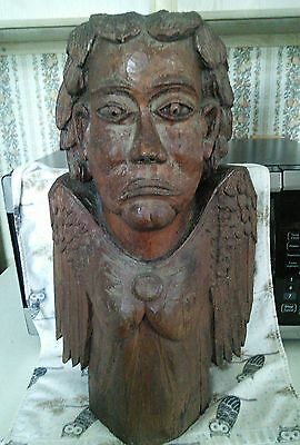Nice Antique Victorian Carved Wood Bust Sculpture Of A Man With Wings
