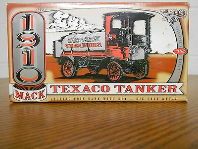 1910 Mack Texaco Tanker Coin Bank With Key Die Cast Medal Ertl Collectables