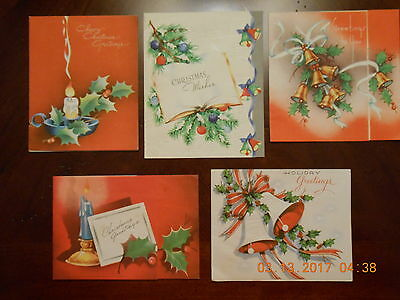 VINTAGE 50's COLLECTIBLE CHRISTMAS CARD LOT 5 CARDS USED  USA