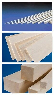 "BALSA WOOD STRIPS / SHEETS / BLOCKS - 18"" (450mm) Long, Packs of 2/5/10"