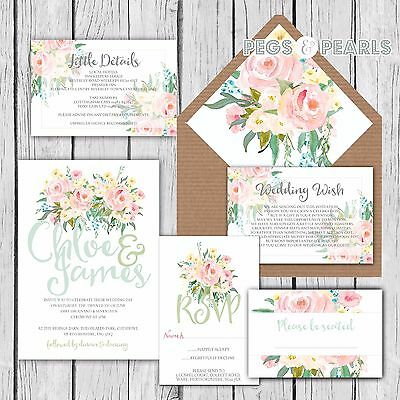 Personalised Luxury Rustic Wedding Invitations PASTEL PINK ROSE packs of 10