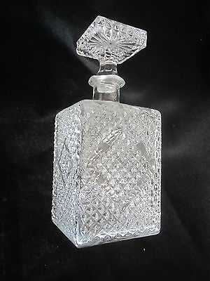 Vintage Bottle Glass Decanter w Stopper 9 1 2/ inches in height  (SM)