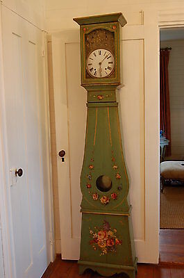 Antique Painted French Grandfather Clock Roses Old French Green Color FREE SHIP!