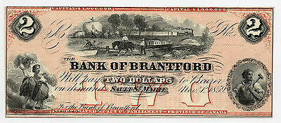 Bank Of Brantford, 1859, $2 Remainder Note, Red Tint