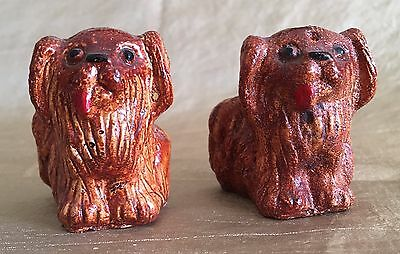 MINT VINTAGE MID-CENTURY LHASA APSO Furry Dog Puppy Salt & Pepper Shakers