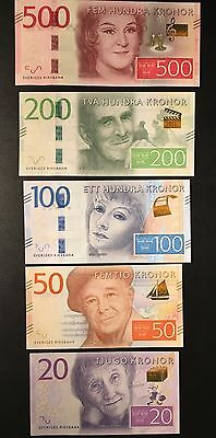 Sweden, set of 5 NEW notes: 20, 50, 100, 200 and 500 kronor 2015 and 2016. UNC
