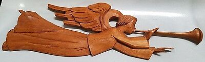 Vintage Hand Carved Black Forest Wood Plaque Of Trumpeting Angel - Anri Style